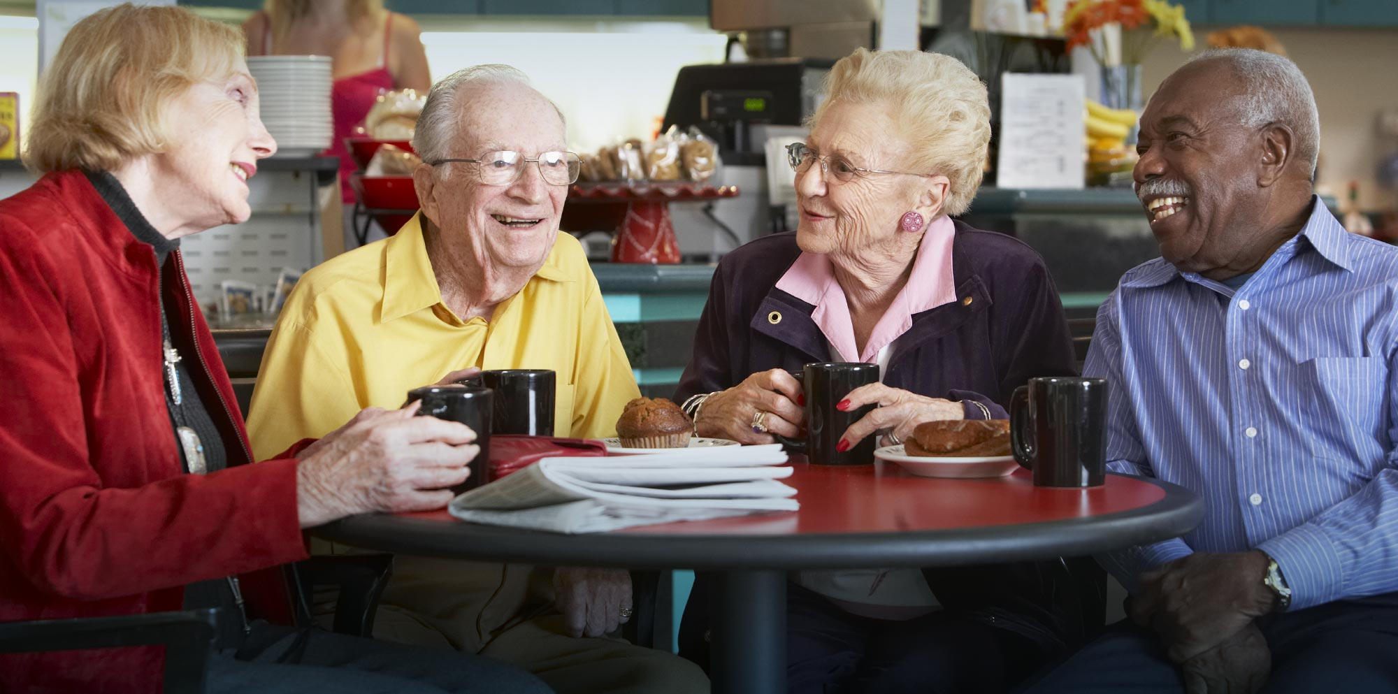Seniors having coffee out on the town