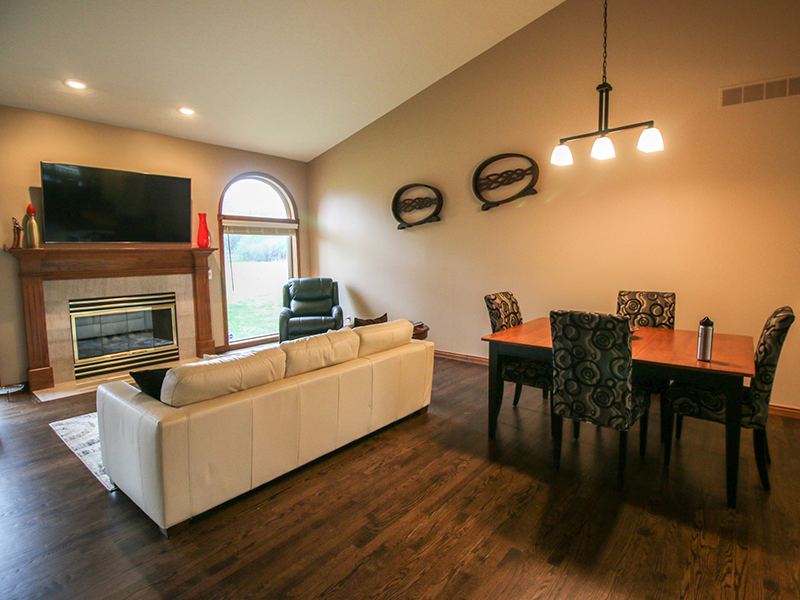 Dining area and fireplace photo